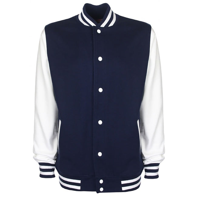 Royal-White - Front - FDM Unisex Varsity - University Jacket (Contrast Sleeves)