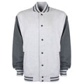 Heather Grey-Charcoal - Front - FDM Unisex Varsity - University Jacket (Contrast Sleeves)