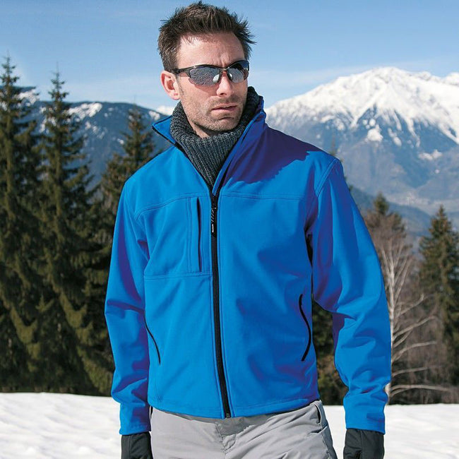 Azure Blue - Lifestyle - Result Mens Softshell Premium 3 Layer Performance Jacket (Waterproof, Windproof & Breathable)