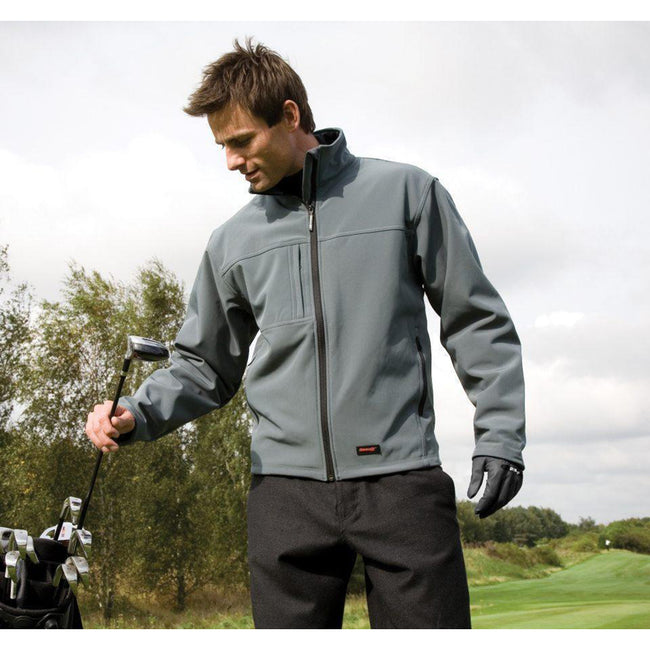 Navy Blue - Front - Result Mens Softshell Premium 3 Layer Performance Jacket (Waterproof, Windproof & Breathable)