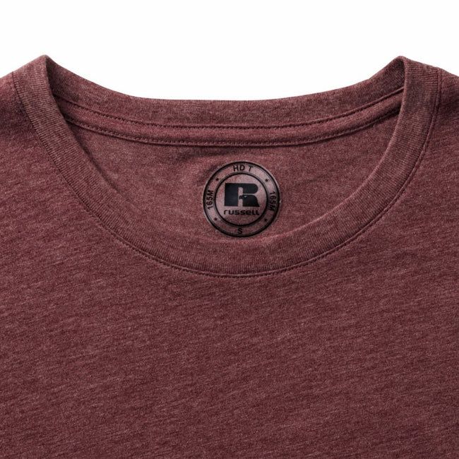 Maroon Marl - Back - Russell Mens Slim Fit Short Sleeve T-Shirt