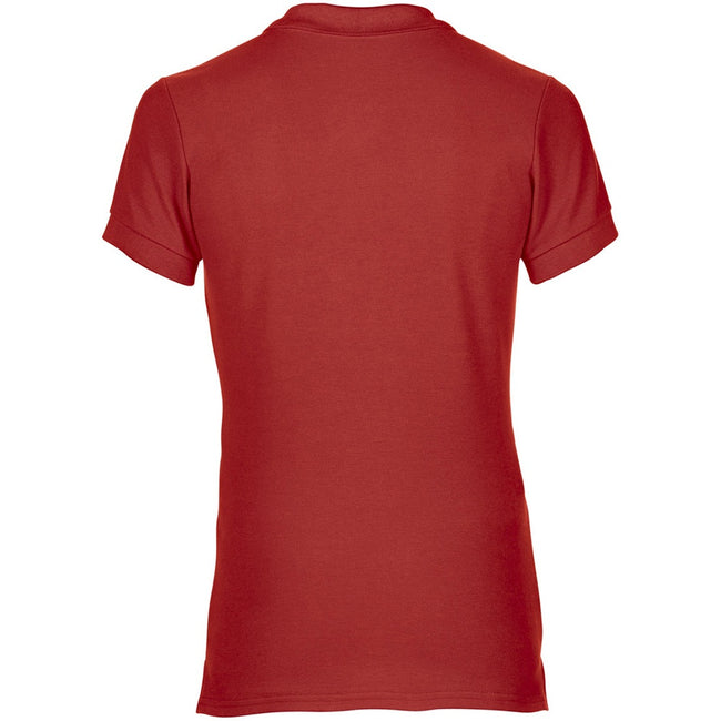 Red - Side - Gildan Womens-Ladies Premium Cotton Sport Double Pique Polo Shirt