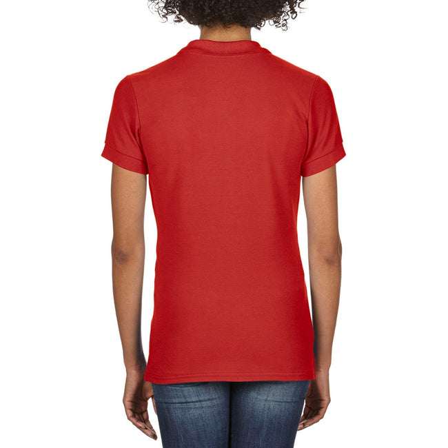 Red - Pack Shot - Gildan Womens-Ladies Premium Cotton Sport Double Pique Polo Shirt