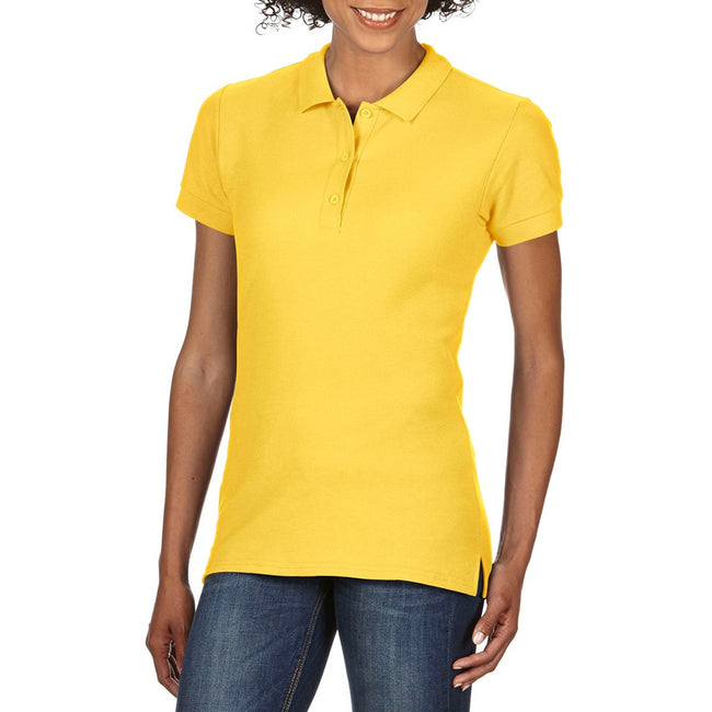 Daisy - Back - Gildan Womens-Ladies Premium Cotton Sport Double Pique Polo Shirt