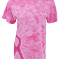 Pink Ribbon - Back - Colortone Adults Unisex Short Sleeve Tie-Dye Awareness T-Shirt