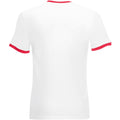 White-Red - Back - Fruit Of The Loom Mens Ringer Short Sleeve T-Shirt