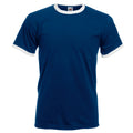 Navy-White - Front - Fruit Of The Loom Mens Ringer Short Sleeve T-Shirt