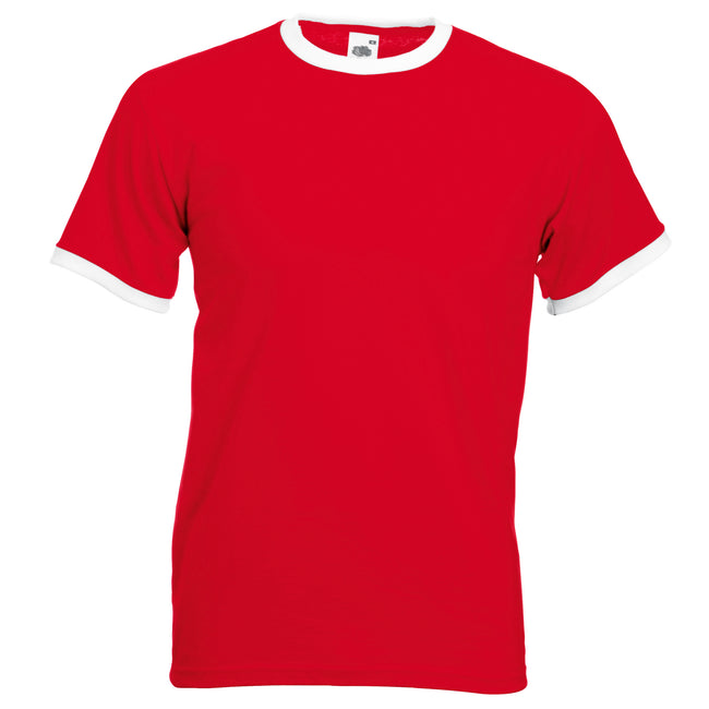Red-White - Front - Fruit Of The Loom Mens Ringer Short Sleeve T-Shirt