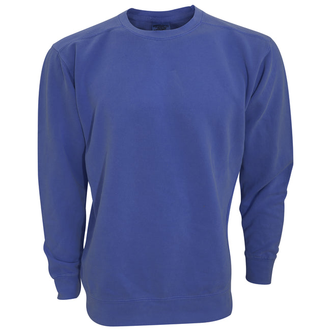 China Blue - Front - Comfort Colours Adults Unisex Crew Neck Sweatshirt