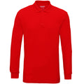 Sport Grey - Front - Gildan Mens Long Sleeve Double Pique Cotton Polo Shirt