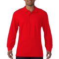Sport Grey - Back - Gildan Mens Long Sleeve Double Pique Cotton Polo Shirt