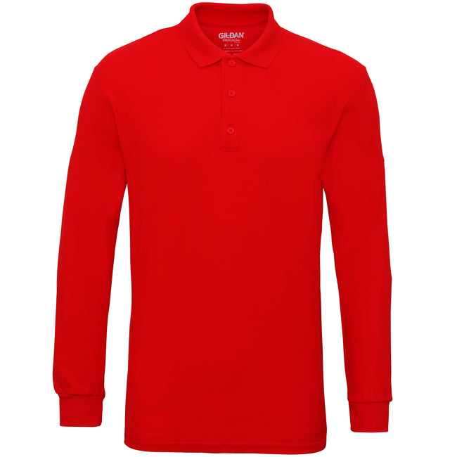Red - Front - Gildan Mens Long Sleeve Double Pique Cotton Polo Shirt