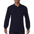 Navy - Back - Gildan Mens Long Sleeve Double Pique Cotton Polo Shirt