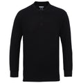 Black - Front - Gildan Mens Long Sleeve Double Pique Cotton Polo Shirt