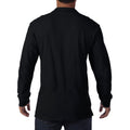 Black - Side - Gildan Mens Long Sleeve Double Pique Cotton Polo Shirt