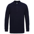 Navy - Front - Gildan Mens Long Sleeve Double Pique Cotton Polo Shirt