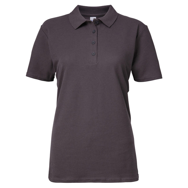 Charcoal - Front - Gildan Softstyle Womens-Ladies Short Sleeve Double Pique Polo Shirt