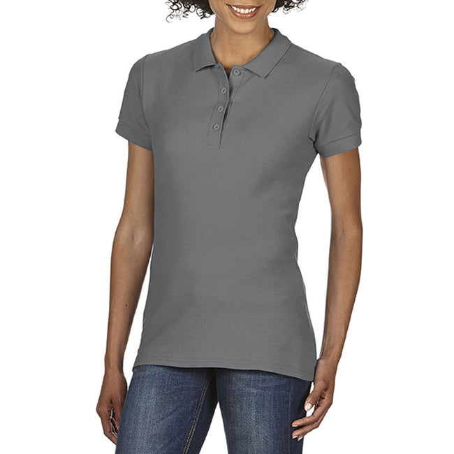 Charcoal - Back - Gildan Softstyle Womens-Ladies Short Sleeve Double Pique Polo Shirt