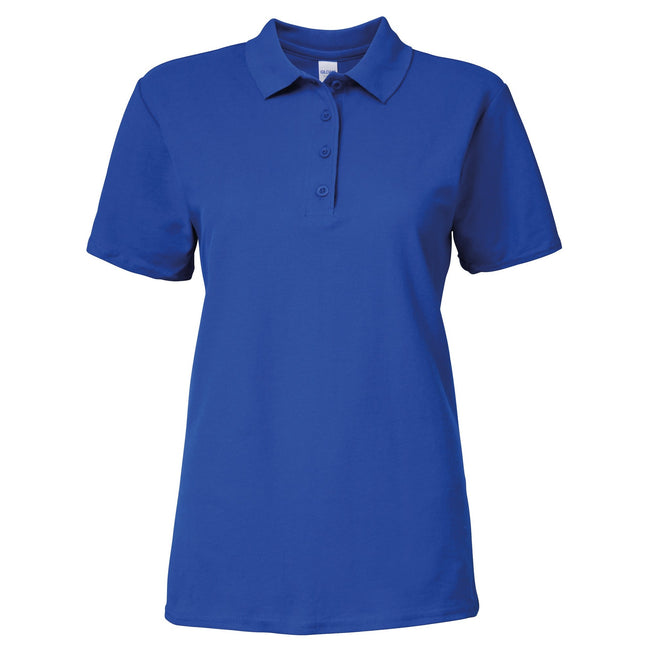 Royal - Front - Gildan Softstyle Womens-Ladies Short Sleeve Double Pique Polo Shirt