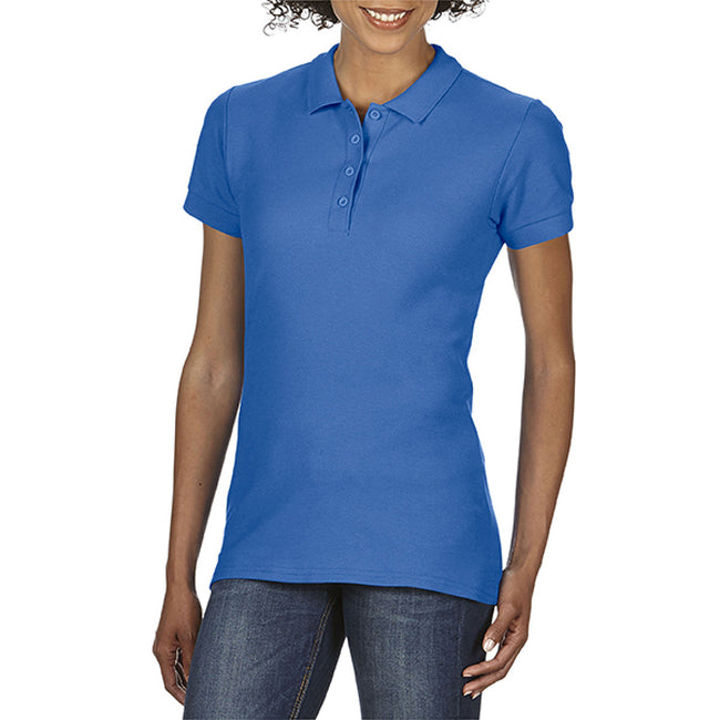Royal - Back - Gildan Softstyle Womens-Ladies Short Sleeve Double Pique Polo Shirt