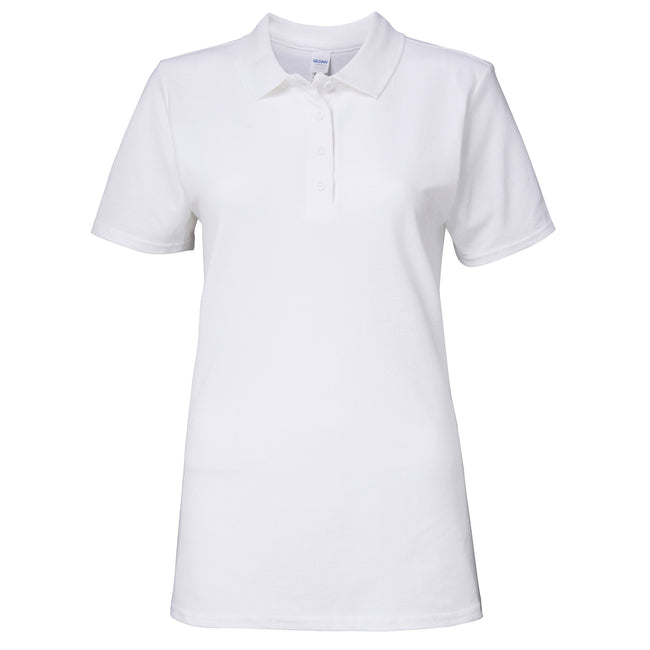 White - Front - Gildan Softstyle Womens-Ladies Short Sleeve Double Pique Polo Shirt
