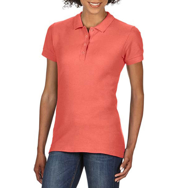Bright Salmon - Front - Gildan Softstyle Womens-Ladies Short Sleeve Double Pique Polo Shirt