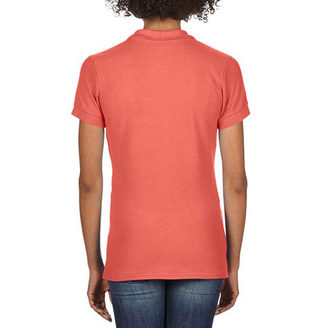Bright Salmon - Back - Gildan Softstyle Womens-Ladies Short Sleeve Double Pique Polo Shirt