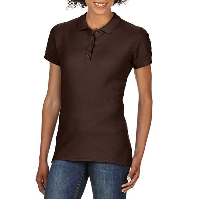 Dark Chocolate - Front - Gildan Softstyle Womens-Ladies Short Sleeve Double Pique Polo Shirt