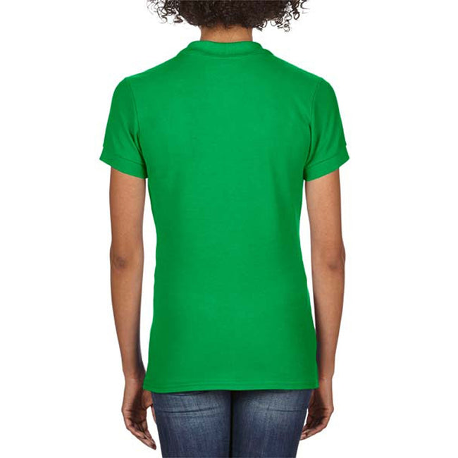 Irish Green - Back - Gildan Softstyle Womens-Ladies Short Sleeve Double Pique Polo Shirt