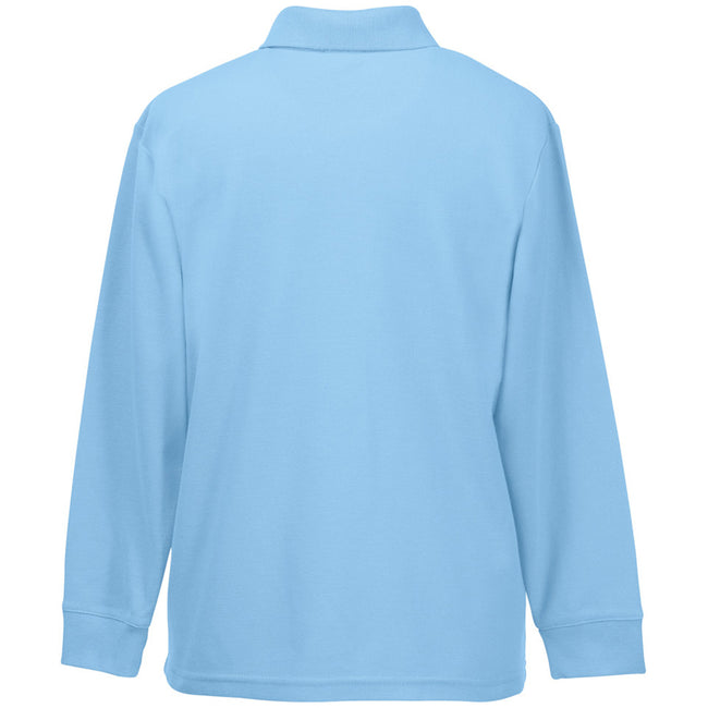 Sky Blue - Side - Fruit Of The Loom Childrens Long Sleeve 65-35 Pique Polo - Childrens Polo Shirts