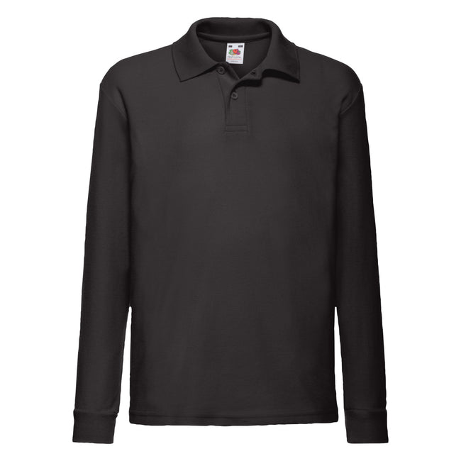 Black - Back - Fruit Of The Loom Childrens Long Sleeve 65-35 Pique Polo - Childrens Polo Shirts