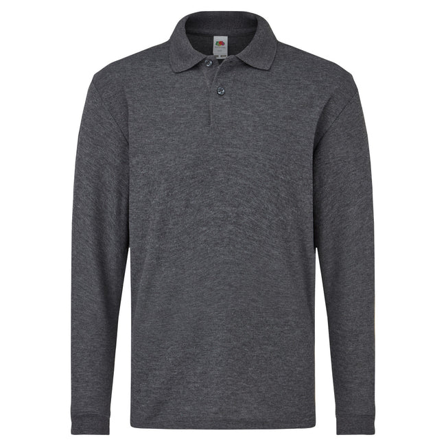 Heather Grey - Back - Fruit Of The Loom Childrens Long Sleeve 65-35 Pique Polo - Childrens Polo Shirts