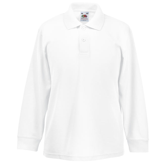 White - Back - Fruit Of The Loom Childrens Long Sleeve 65-35 Pique Polo - Childrens Polo Shirts