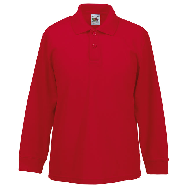 Red - Front - Fruit Of The Loom Childrens Long Sleeve 65-35 Pique Polo - Childrens Polo Shirts