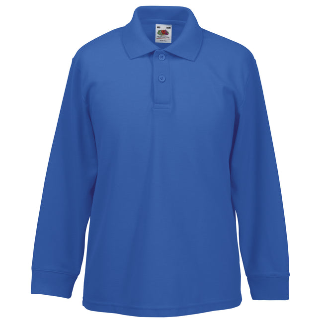 Royal - Front - Fruit Of The Loom Childrens Long Sleeve 65-35 Pique Polo - Childrens Polo Shirts