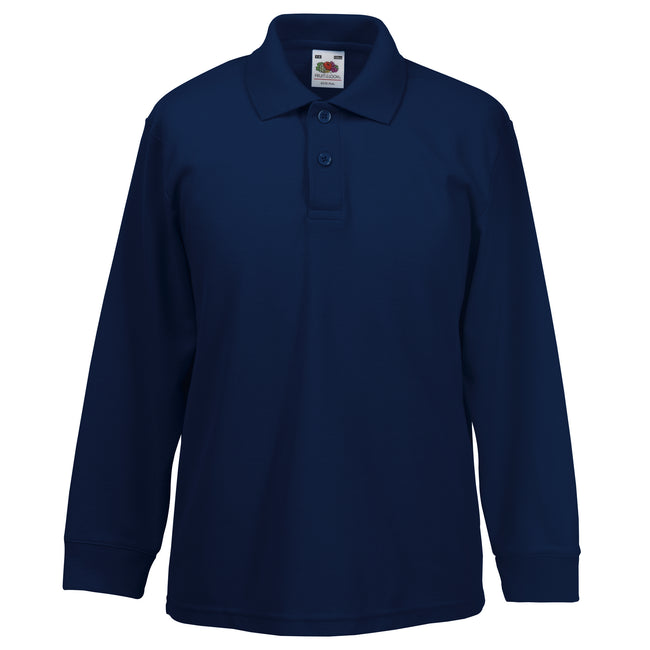 Deep Navy - Front - Fruit Of The Loom Childrens Long Sleeve 65-35 Pique Polo - Childrens Polo Shirts