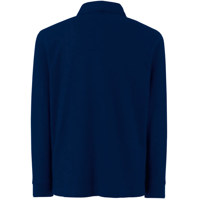 Deep Navy - Back - Fruit Of The Loom Childrens Long Sleeve 65-35 Pique Polo - Childrens Polo Shirts