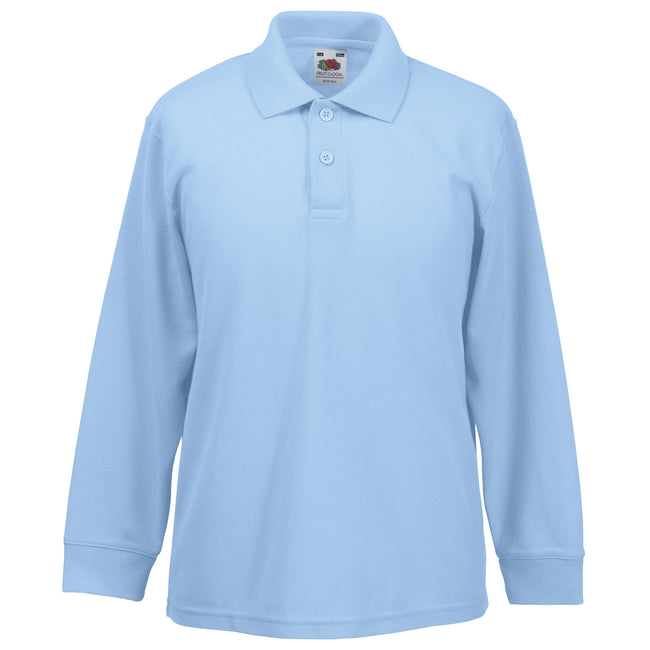 Sky Blue - Back - Fruit Of The Loom Childrens Long Sleeve 65-35 Pique Polo - Childrens Polo Shirts