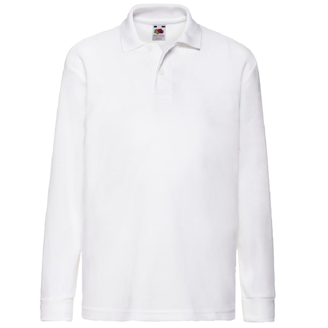 White - Front - Fruit Of The Loom Childrens Long Sleeve 65-35 Pique Polo - Childrens Polo Shirts