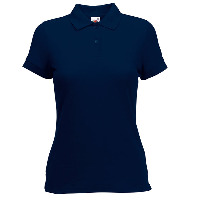 Deep Navy - Back - Fruit Of The Loom Womens Lady-Fit 65-35 Short Sleeve Polo Shirt