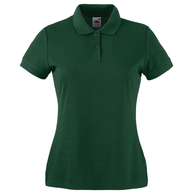 Bottle Green - Back - Fruit Of The Loom Womens Lady-Fit 65-35 Short Sleeve Polo Shirt