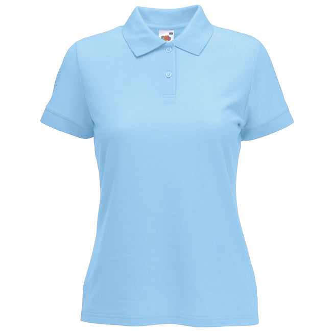 Sky Blue - Back - Fruit Of The Loom Womens Lady-Fit 65-35 Short Sleeve Polo Shirt