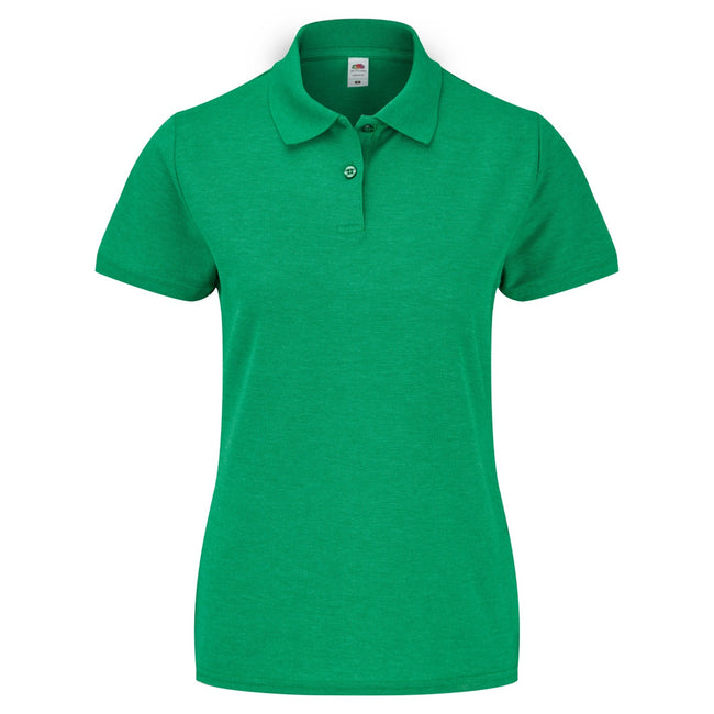 Heather Green - Back - Fruit Of The Loom Womens Lady-Fit 65-35 Short Sleeve Polo Shirt