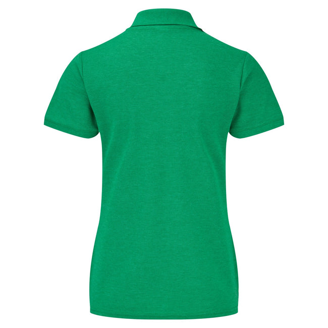Heather Green - Side - Fruit Of The Loom Womens Lady-Fit 65-35 Short Sleeve Polo Shirt