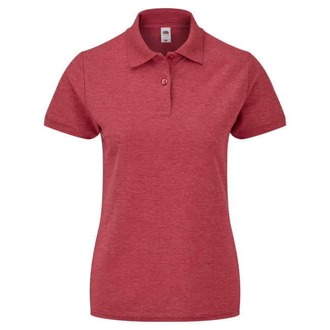 Heather Red - Back - Fruit Of The Loom Womens Lady-Fit 65-35 Short Sleeve Polo Shirt