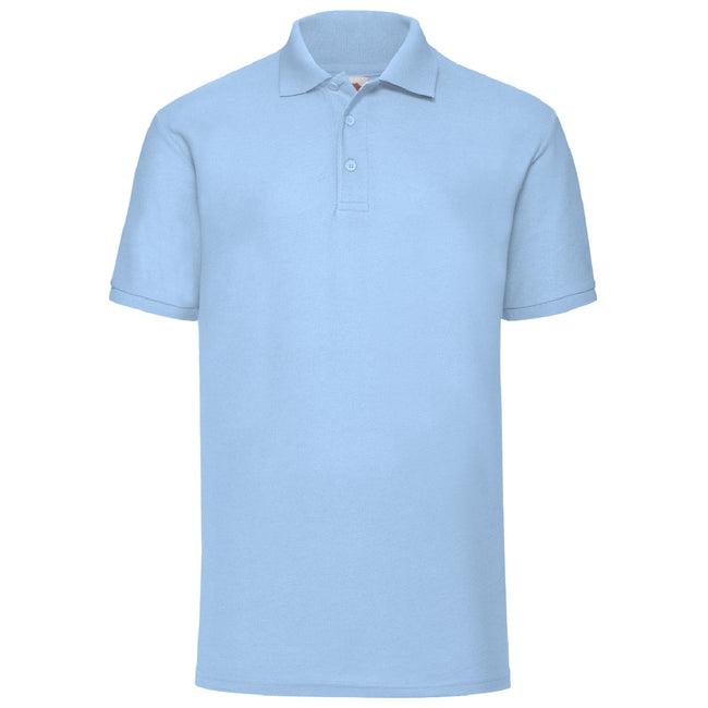 Sky Blue - Back - Fruit Of The Loom Mens 65-35 Pique Short Sleeve Polo Shirt