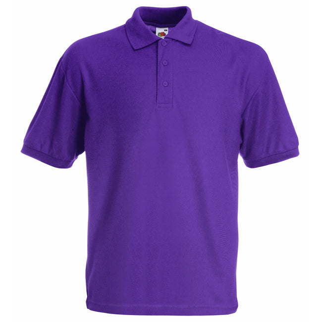 Purple - Back - Fruit Of The Loom Childrens-Kids Unisex 65-35 Pique Polo Shirt