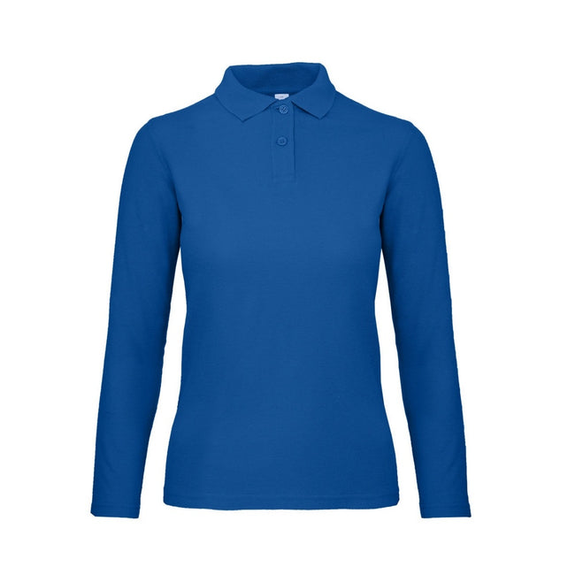 Royal Blue - Front - B&C ID.001 Womens-Ladies Long Sleeve Polo