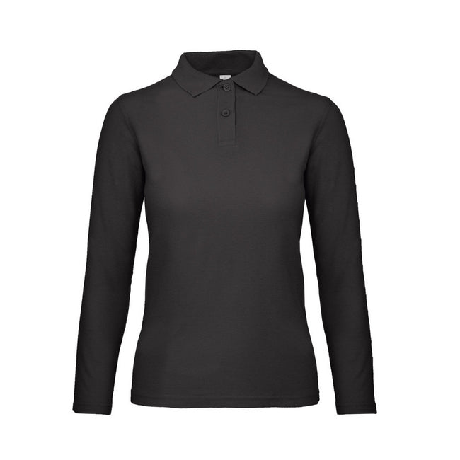 Jet Black - Front - B&C ID.001 Womens-Ladies Long Sleeve Polo