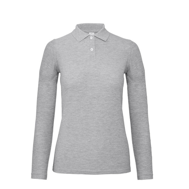 Taupe Grey - Front - B&C ID.001 Womens-Ladies Long Sleeve Polo